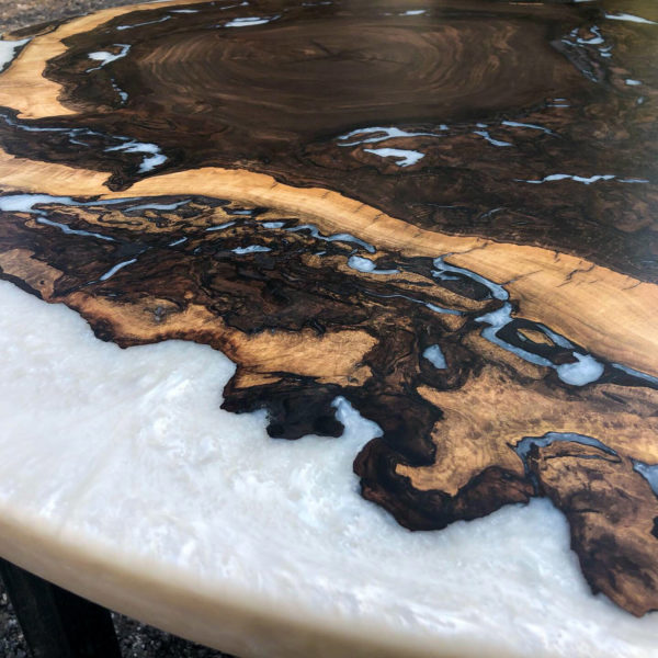 "black walnut burl 48"" table"