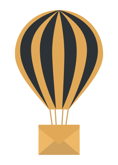 black and yellow air balloon attached to envelope art