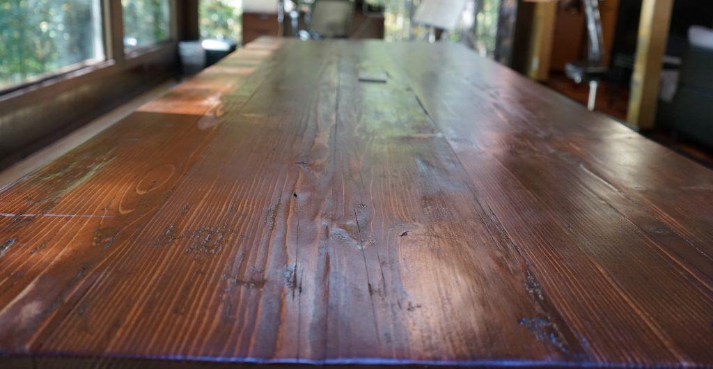 custom dark wood table in house