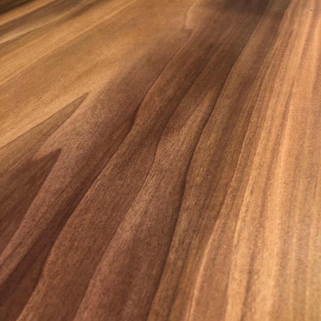 close up finished wood slab table