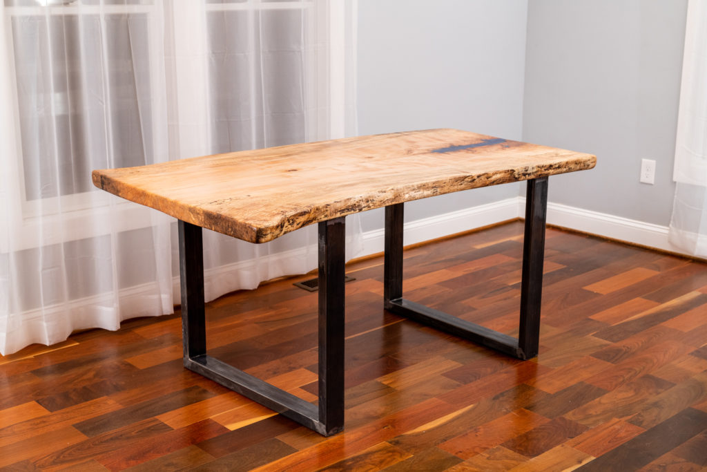 finished wood slab table on display