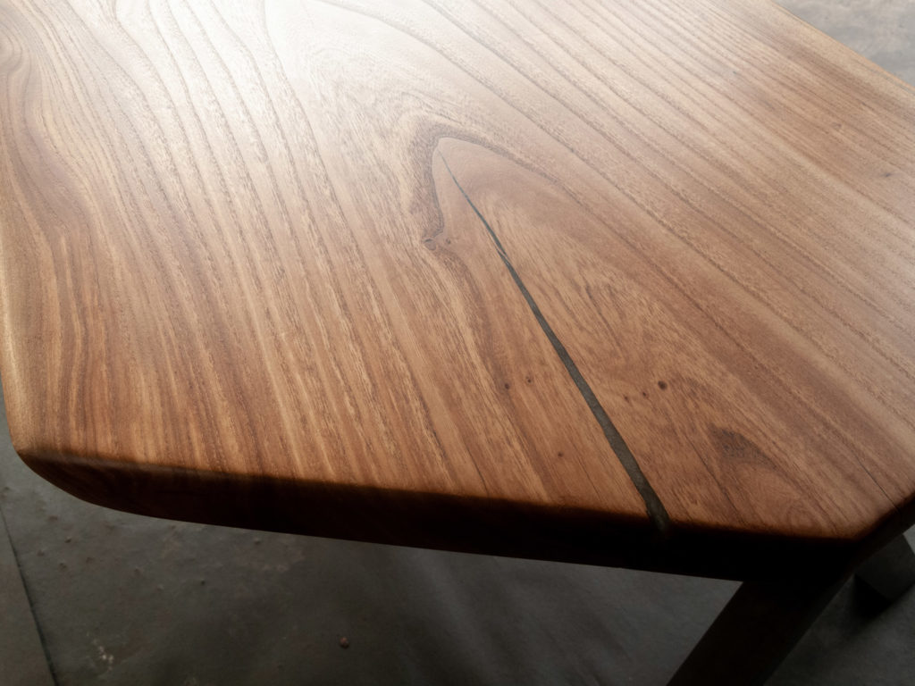 close up of finished wood slab table