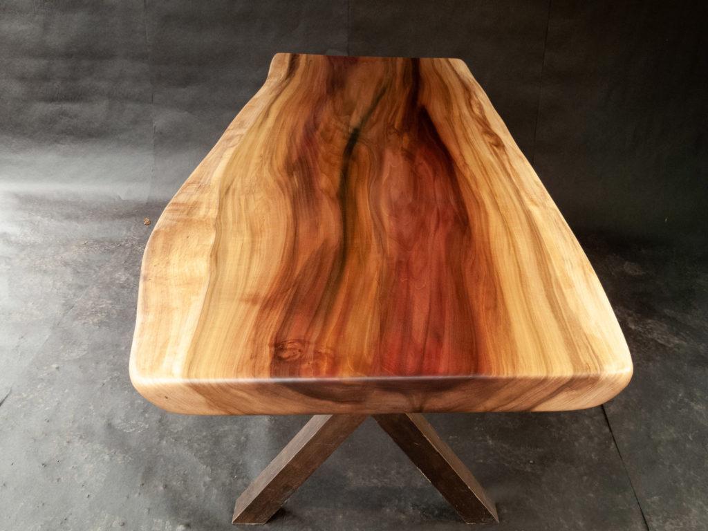 finished wood slab table