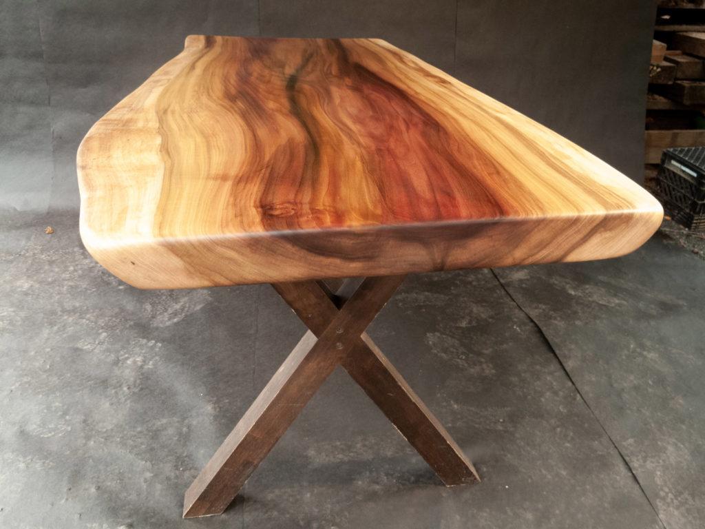 wood slab table finished