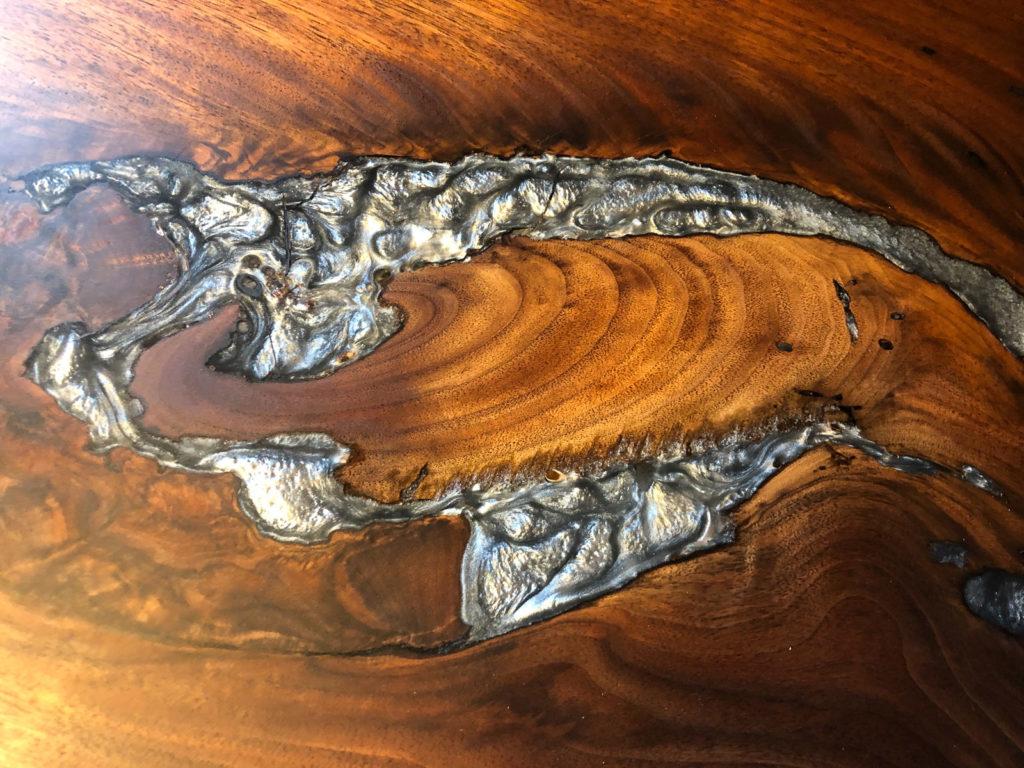 close up of finished wood slab