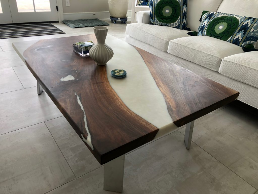Black Walnut White Epoxy Coffee table in living room