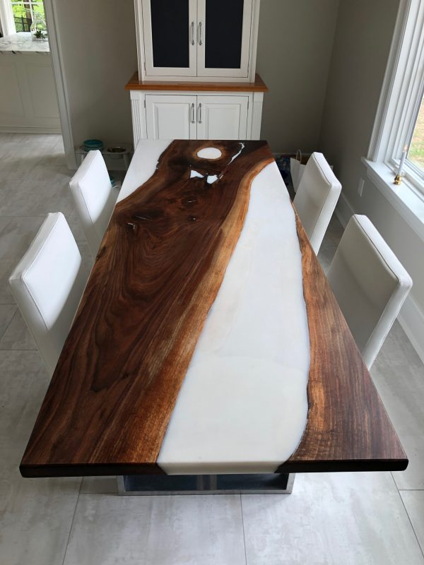 Black Walnut with White Epoxy table in dining room