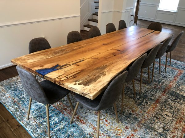 Spalted Sycamore With Epoxy Table in dining room