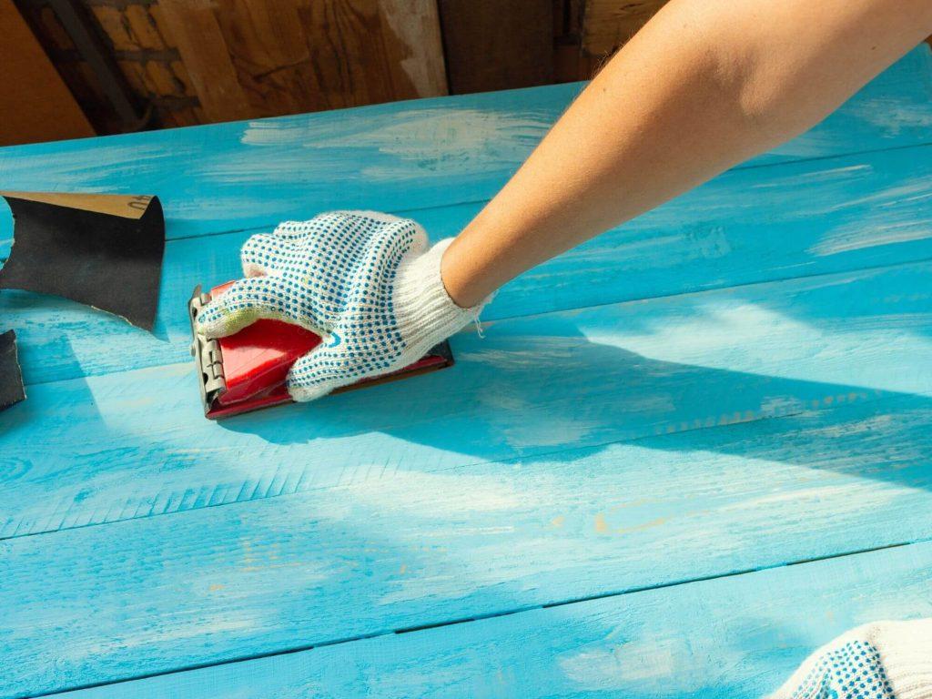 sanding wooden table